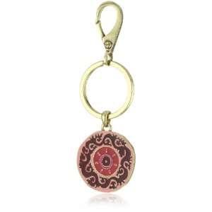 Lucky Brand Suzani Gold Tone Pink Enamel Keyfob