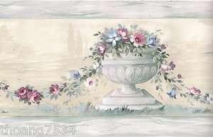 Roman Garden Urn Floral Flower Rose Vine Blue Silk Wall paper Border