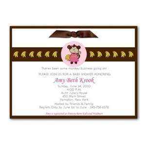 Perfect Little Monkey Baby Shower Invitation (Girl) Baby