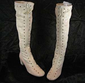 1970s BONE/PINK VINYL GOGO BOOTS SZ 5.5M KNEE HIGH MOD MINI