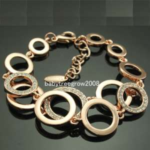 18k Rose Gold GP Clear Swarovski Crystal Chain & Link Bracelet 47