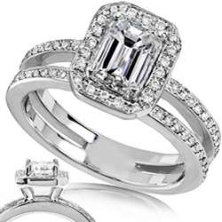 14k Gold 1 1/3ct TDW Emerald Cut Diamond Ring (H I, SI1 SI2