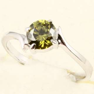 6mm GREEN PERIDOT *G88* SOLATAIRE RING