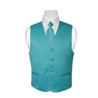Mens TURQUOISE / AQUA BLUE Dress Vest and NeckTie Set for Suit