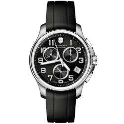 Victorinox Swiss Army Mens Officers Chrono Black Dial Rubber Strap
