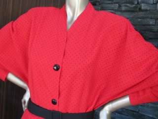 Vintage 80s does 40s Red & Black Peplum Dress S16