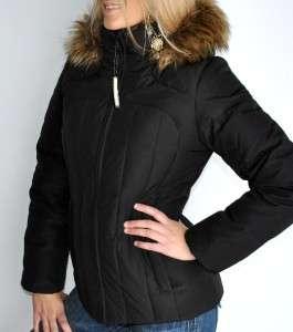 New Womens Calvin Klein Down Ski Jacket Coat Detachable Faux Fur Hood