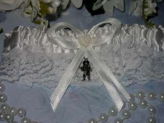 Fireman Firefighter AXE Satin Wedding Garter WHITE