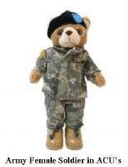 ARMY COMBAT UNIFORM FEMALE TEDDY BEAR (12 TALL)
