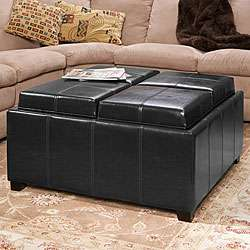 Sectioned Black Bonded Leather Cube Storage Ottoman