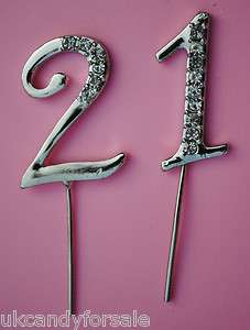 DIAMANTE 21 21st BIRTHDAY PARTY CAKE TOPPER DECORATION