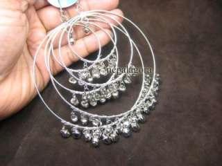 E2518 BIG Silver tone Belly Dance bell earrings indian