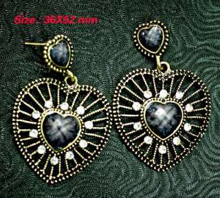 Tibetan Silver Black GEMSTONE Dangle Earrings Fashion Jewelry