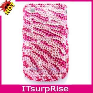 Bling Diamond Pink Zebra Case Cover For Blackberry Curve 8520