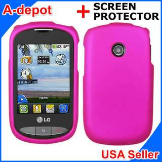 Tracfone LG 800G Net10 Pink Rubberized Hard Case Cover +Screen