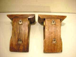 PAIR VINTAGE SOLID WOOD CARVED WALL SHELVES SCONCES