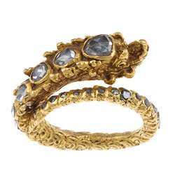 24k Yellow Gold 1 5/8ct TDW Black Diamond Heavy Dragon Estate Ring