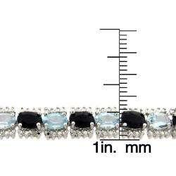 Sterling Silver Sapphire, Blue Topaz, and Diamond Accent Line Bracelet