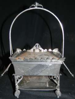 ANTIQUE 1880s SILVER PLATE BASKET JEWELRY BOX W TRAY