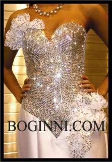 SPARKLY WHITE ROSES DIAMOND CRYSTAL PROM / WEDDING BRIDAL CORSET TOP