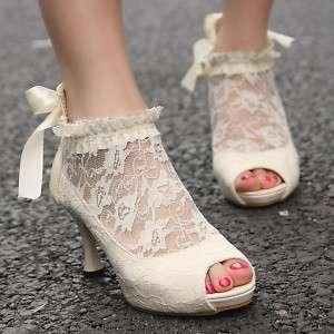 Womens Lace Wedding Bridal Ankle Peep Toe Elegant Heels Pumps Shoes