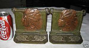 NATIVE AMERICAN WESTERN INDIAN SWASTIKA BOOKENDS CAST IRON ART BRONZE
