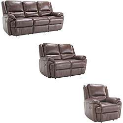 Marco Brown Reclining Leather Sofa/ Loveseat/ Chair Set