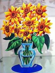 David Gerstein Metal Art Sunflower Flowers Modern Vase Sculpture