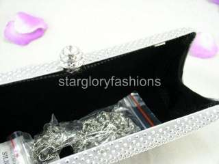 Exquisite Sparkle Wedding/Prom Clutch Hard Bag Silver EM 090819