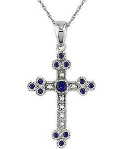 10k White Gold Diamond Sapphire Cross Necklace