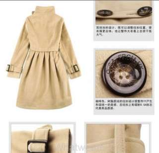 Women Slim Fit S Breasted Long Trench Coat Khaki W18