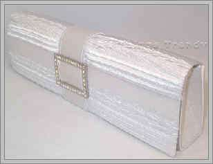 Buckle Clutch Purse w Swarovski Crystal Accents White