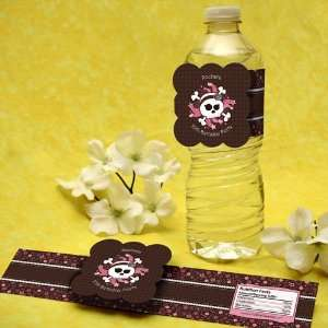 Girl Skull Birthday Party Water Bottle Labels Toys & Games