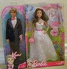 2005 BEAUTIFUL BRIDE Barbie w Wedding Cake, Bouquet & Barrettes+_G9071