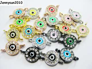 Ways Crystal Rhinestones Round Evil Eye Bracelet Connector Charm Bead