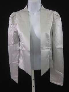VANESSA BRUNO Silver Silk Open Front Blouse Sz 36