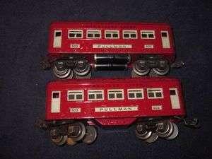 LIONEL PREWAR 603 RED COMET PULLMAN COACH PASSENGER CARS