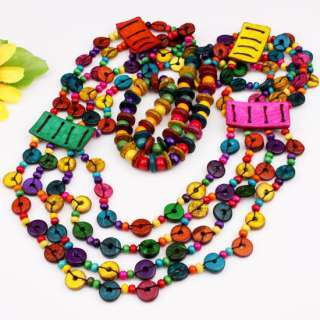 Handmade Multi color Coconut Shell Beads Necklace 32L
