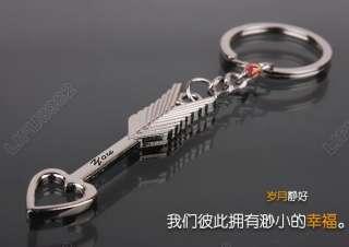 pair Cupids Arrow & Loving Heart key chain key ring for gift
