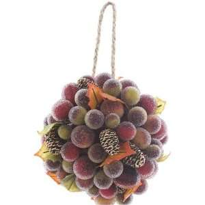 Imports Kissing Ball Hanging Berry Cone Leaves, Green