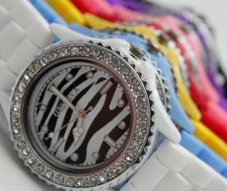 Zebra stripe Soft Rubber Silicone Crystal Jelly Watch Unisex 7 Color