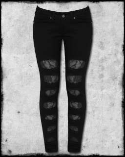 CRIMINAL DAMAGE BLACK RIPPED TORN ROSE LACE WOMENS EMO SCENE GOTH