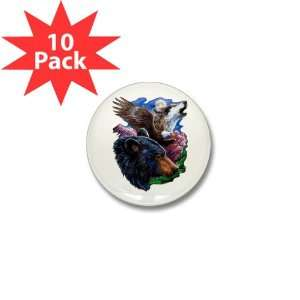 Mini Button (10 Pack) Bear Bald Eagle and Wolf: Everything Else