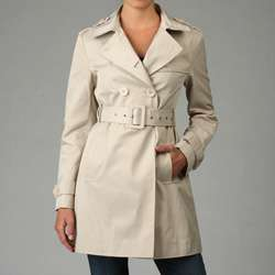 Nine West Womens Belted Double breasted Trench