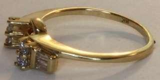 14k yellow gold .20ct diamond wedding band ring wrap vintage estate