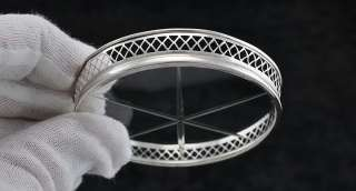 Set of 9 Sterling & Etched Glass Coasters Webster