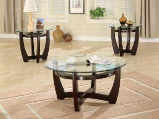 Cappuccino Wood Glass Top 3 Pc Coffee Table Set FREE SH