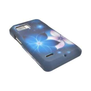 For Motorola Droid Bionic Pink Flowers Blue Hard Rubberized Case
