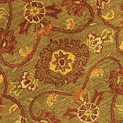 Handmade Taj Mahal Green/ Rust Wool Rug (6 Round)