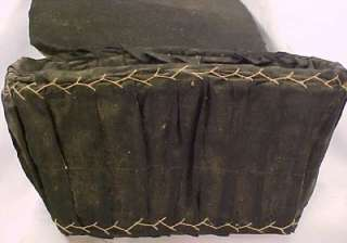 Neat CIVIL WAR ERA BLACK FABRIC COVERED SEWING BASKET